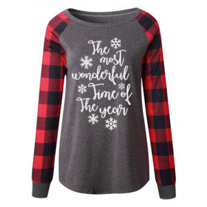 SOLD OUT: Most Wonderful Time of the Year: Dark Grey/Red Plaid